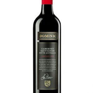 Black wine bottle with red cap and black label