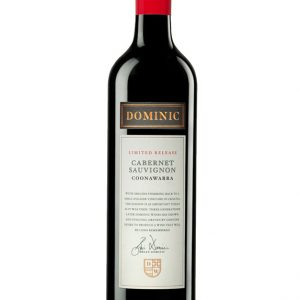 Black wine bottle with red cap and white label