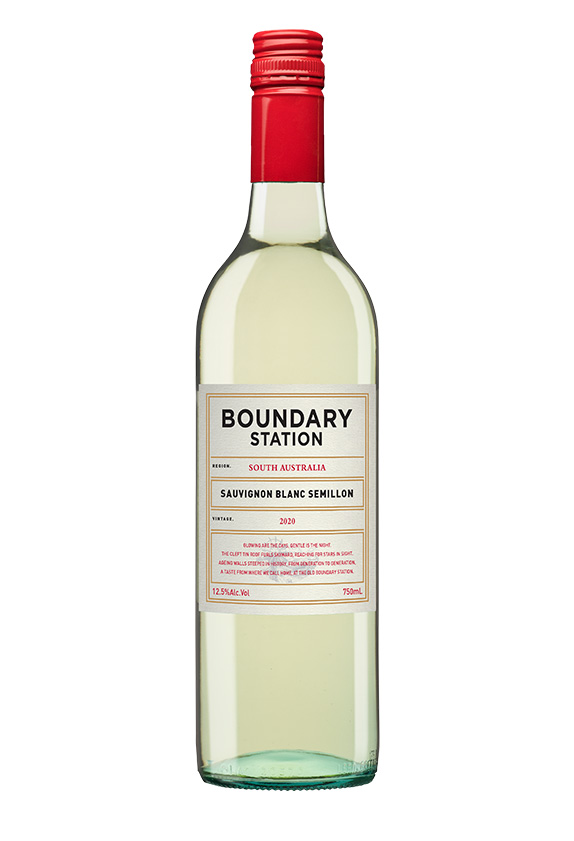 white wine bottle with red cap and black and red text on cream label