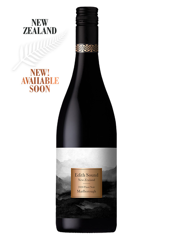 Black wine bottle with blacka nd white hills on label and copper square
