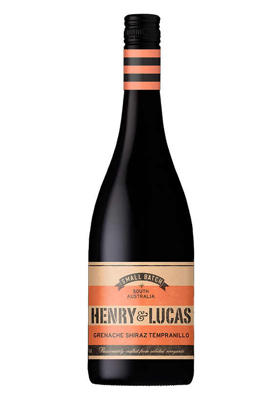 black wine bottle with orange striped label