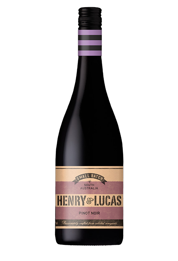Black wine bottle with purple stripes under cap and purple and cream label